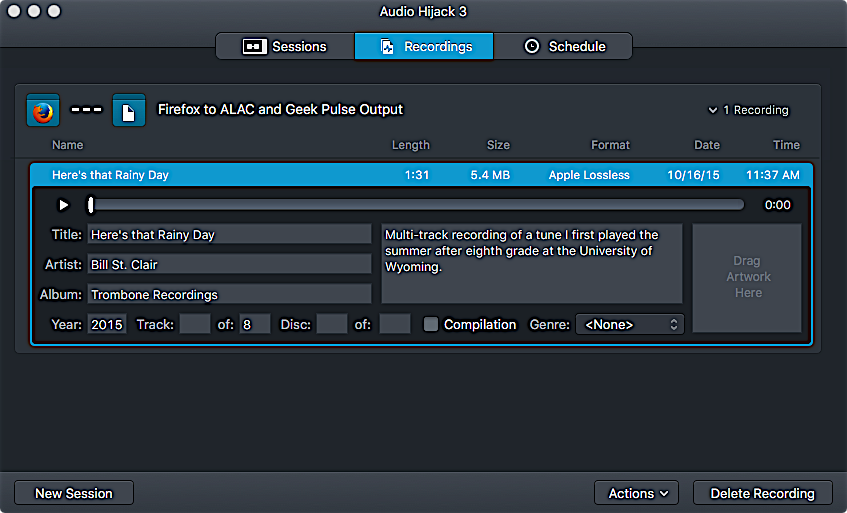 Audio Hijack 3 Recordings screen